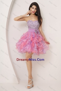 2016 Pretty Sweetheart Bowknot and Beaded Short Prom Gowns in Multi Color
