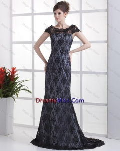 Popular Column Lace Black Prom Dresses with Brush Train