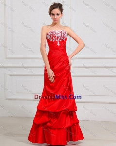 Popular Column Strapless Appliques Prom Dresses in Red