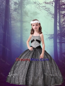 2015 Winter Popular Straps Black Sequined Mini Quinceanera Dresses with Appliques
