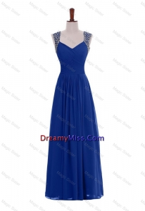 Dreamy Made Empire Straps Beaded Prom Dresses in Blue for 2016