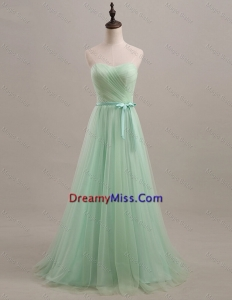 Exquisite 2016 Summer Apple Green Prom Dresses with Sweep Train