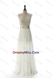 New Style White Long Prom Dresses with Beading and Belt for 2016