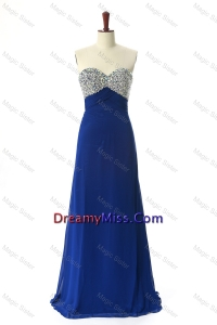 Stylish 2016 Beading Sweep Train Prom Dresses in Royal Blue