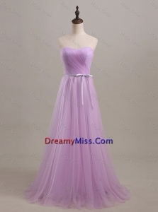 Beautiful Sweetheart Lilac Long Prom Dresses with Sweep Train