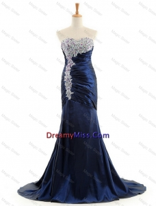 Custom Made Mermaid Royal Blue Prom Dresses with Brush Train