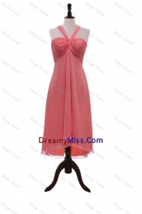 Formal Halter Top Coral Red Short Prom Dresses with Ruching