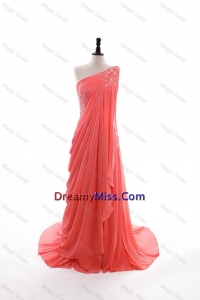 2016 Traditional Empire One Shoulder Brush Train Prom Dresses in Watermelon