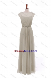 Traditional Bateau Grey Long Prom Dresses with Beading and Sashes