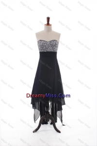 Traditional Empire Strapless Beaded High Low Prom Dresses in Black