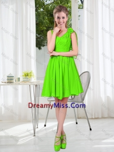 A Line Hand Made Flowers Dama Dresses in Spring Green