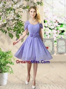 Elegant Hand Made Flowers Prom Dresses with Short Sleeves