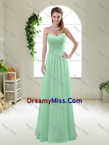 Comfortable Sweetheart Apple Green Dama Dresses with Ruching