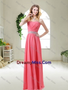 Elegant Strapless Dama Dresses in Watermelon Red