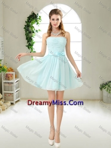 Elegant Strapless Mini Length Dama Dresses with Bowknot