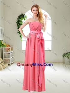 Beautiful Strapless Watermelon Red Prom Dresses with Sash
