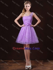 Elegant One Shoulder Prom Dresses with Lace and Appliques