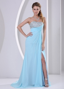 High Slight Light Blue Senior Prom Dress with Beaded Bust for Cheap