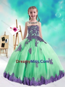Sweet Multi Color Little Girl Pageant Dresses with Appliques and Beading