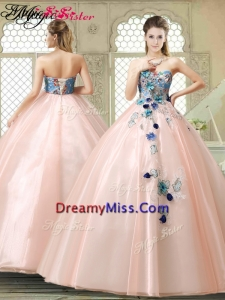 2016 Spring Perfect Strapless Sweet 16 Gowns with Appliques and Embroidery