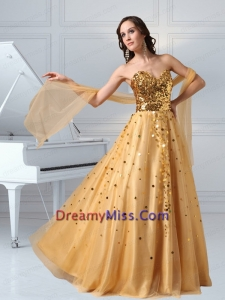 A Line Sweetheart Sequins and Tulle Prom Dress in Gold