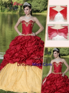 Latest Appliques and Pick Ups Quinceanera Gowns with Brush Train