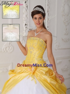 Cheap Strapless Quinceanera Gowns with Appliques for 2016