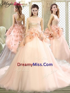 Beautiful Scoop Court Train Quinceanera Dresses with Hand Made Flowers