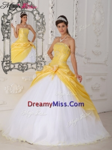 Pretty Hand Made Flower Quinceanera Dresses in Yellow and White