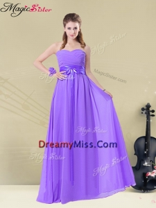Pretty Sweetheart Floor Length Dama Dresses with Belt