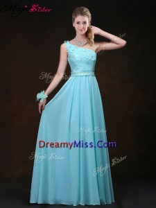 Inexpensive Empire One Shoulder Prom Dresses with Appliques