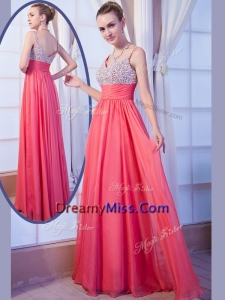 Popular Empire Straps Side Zipper Beading Prom Dress for Evening