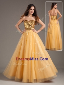 Popular Princess Sweetheart Sequins Long Prom Dresses in Gold