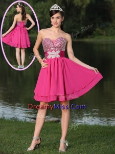 Popular Short Sweetheart Beading Prom Dresses in Hot Pink