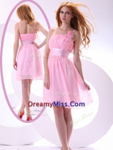 2016 Beautiful Short Pink Prom Dresses with Hand Made Flowers and Belt