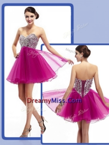 2016 Sweetheart Fuchsia Short Prom Dresses with Beading