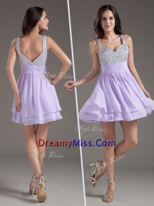 2016 Straps Mini Length Lavender Prom Dress with Beading