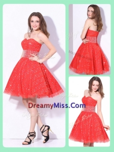 Amazing Sweetheart Beading Prom Dress in Red for Fall
