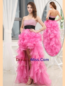 Amazing Sweetheart High-low Pink Prom Dresses with Beading and Belt
