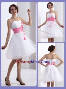 Cheap A Line Sweetheart Prom Dresses with Hand Made Flowers