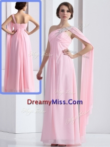 Cheap One Shoulder Baby Pink Prom Dress with Ruching and Beading