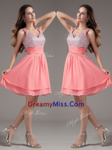 Cheap Straps Beading Short Watermelon Prom Dresses