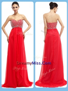 Cheap Sweetheart Brush Train Beading Prom Dresses in Red