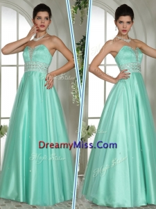 Formal A Line Sweetheart Beading Prom Dresses in Apple Green