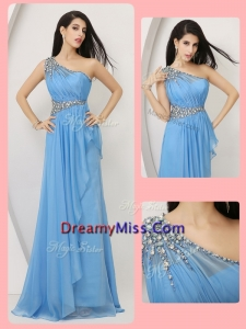 Formal Empire One Shoulder Prom Dresses with Beading and Ruching