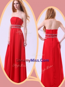 Formal Empire Strapless Red Prom Dresses with Beading