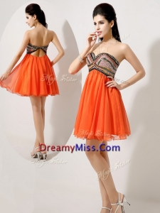 Formal Short Orange Red Prom Dresses with Beading and Sequins