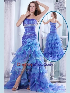 Hot Sale Pretty Column Sweetheart High Low Beading and Ruffled Layers Prom Dresses
