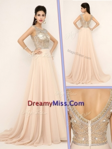 Pretty Empire Bateau Brush Train Prom Dresses with Beading