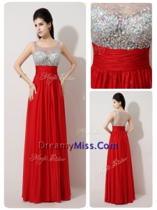 Pretty Scoop Empire Beading Red Prom Dresses